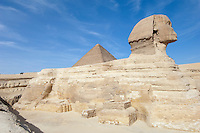 The Great Sphinx of Giza and the Pyramid of Khufu, Giza, Egypt