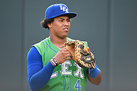 Catcher Meibrys Viloria (4) of the Lexington Legends warms up before a game against the Greenville Drive on Friday, June 30, 2017, at Fluor Field at the West End in Greenville, South Carolina. Lexington won, 17-7. (Tom Priddy/Four Seam Images)