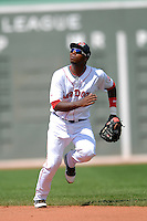 Infielder Oscar Tejeda (#3)of the Portland Sea Dogs in action at the 2011 Futures at Fenway minor league doubleheader featuring the  Sea Dogs and the Binghamton Mets on August 20, 2011 at Fenway Park in Boston, Massachusetts. (Ken Babbitt/Four Seam Images)