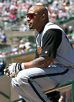 May 26, 2005:  Darnell McDonald of the Buffalo Bisons during a game at Dunn Tire Park in Buffalo, NY.  Buffalo is the International League Triple-A affiliate of the Cleveland Indians.  Photo by:  Mike Janes/Four Seam Images