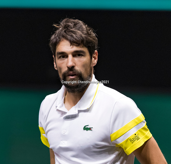 Rotterdam, The Netherlands, 5 march  2021, ABNAMRO World Tennis Tournament, Ahoy,  Quarter final: Jeremy Chardy (FRA).<br /> Photo: www.tennisimages.com/henkkoster