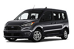 Stock pictures of low aggressive front three quarter view of 2019 Ford Transit-Connect XLT 5 Door Combi Low Aggressive