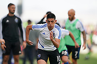 SAN JOSE, CA - SEPTEMBER 29:  Cristian Espinoza #10 of the San Jose Earthquakes prior to a Major League Soccer (MLS) match between the San Jose Earthquakes and the Seattle Sounders on September 29, 2019 at Avaya Stadium in San Jose, California.
