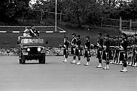 June 1987  File Photo - Montreal, Quebec, CANADA - The Queen Mother review her regiment ; the Blackwatch on its 125th anniversary.