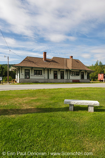 Grand Trunk Railroad Museum in Gorham, New Hampshire USA. This old railroad station was built in 1907, and in 1973, the Gorham Historical Society saved it from being destroyed.