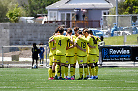 Wellington Phoenix  team huddle before the ISPS Handa Men's Premiership - Wellington Phoenix v Eastern Suburbs at Fraser Park, Wellington on Saturday 28 November 2020.<br /> Copyright photo: Masanori Udagawa /  www.photosport.nz