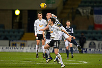 16th March 2021; Dens Park, Dundee, Scotland; Scottish Championship Football, Dundee FC versus Ayr United; Charlie Adam of Dundee competes in the air with Michael Miller of Ayr United
