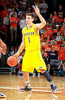 CHARLOTTESVILLE, VA- NOVEMBER 29: Stu Douglass #1 of the Michigan Wolverines handles the ball during the game on November 29, 2011 at the John Paul Jones Arena in Charlottesville, Virginia. Virginia defeated Michigan 70-58. (Photo by Andrew Shurtleff/Getty Images) *** Local Caption *** Stu Douglass