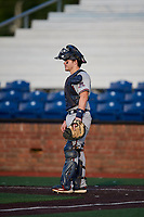 Danville Braves catcher Zack Soria (4) during a game against the Johnson City Cardinals on July 29, 2018 at TVA Credit Union Ballpark in Johnson City, Tennessee.  Johnson City defeated Danville 8-1.  (Mike Janes/Four Seam Images)