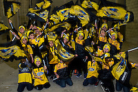 Hurricanes flagbearers get ready for the Super Rugby semifinal match between the Hurricanes and Chiefs at Westpac Stadium, Wellington, New Zealand on Saturday, 30 July 2016. Photo: Dave Lintott / lintottphoto.co.nz