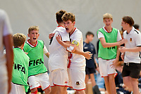 Isaac Bates of Hamilton Boys' High School celebrates after winning the Futsal NZ Secondary Schools Junior Boys Final between Hamilton Boys High School and Selwyn College at ASB Sports Centre, Wellington on 26 March 2021.<br /> Copyright photo: Masanori Udagawa /  www.photosport.nz