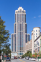 Trump Plaza New Rochelle, a modern residential tower, with New Roc City on the right in New Rochelle, New York.