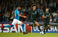 Football Soccer: UEFA Champions League Napoli vs Mabchester City San Paolo stadium Naples, Italy, November 1, 2017. <br /> Manchester City's Leroy Sané (r) in action with Napoli's Elseid Hisaj (l) during the Uefa Champions League football soccer match between Napoli and Manchester City at San Paolo stadium, November 1, 2017.<br /> UPDATE IMAGES PRESS/Isabella Bonotto
