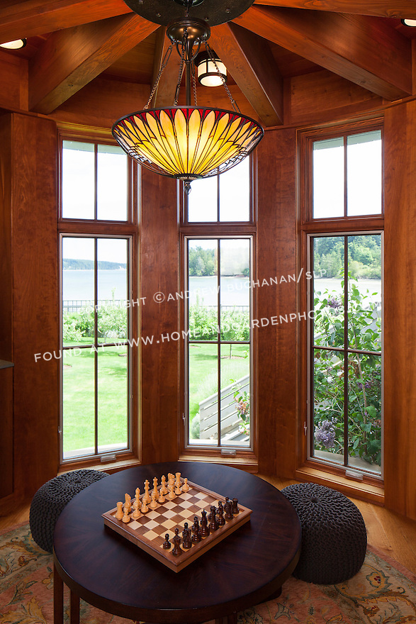 Craftsman-inspired tower room with game table.