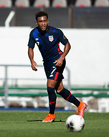 GUADALAJARA, MEXICO - MARCH 28: Jonathan Lewis #7 of the United States looks for an open man downfield during a game between Honduras and USMNT U-23 at Estadio Jalisco on March 28, 2021 in Guadalajara, Mexico.
