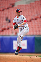 Louisville Bats starting pitcher Jon Moscot (45) delivers a pitch during a game against the Buffalo Bisons on June 20, 2016 at Coca-Cola Field in Buffalo, New York.  Louisville defeated Buffalo 4-1.  (Mike Janes/Four Seam Images)