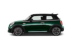 Car Driver side profile view of a 2016 MINI MINI JCW 3 Door Hatchback Side View