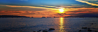 A Stanley Park Sea View Sunset Panorama in Vancouver.