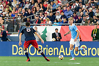 FOXBOROUGH, MA - SEPTEMBER 11: Keaton Parks #55 of New York City FC dribbles during a game between New York City FC and New England Revolution at Gillette Stadium on September 11, 2021 in Foxborough, Massachusetts.