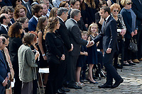 The sons of late French politician and Holocaust survivor Simone Veil Simone Veil, Pierre-Francois (L) and Jean Veil arrive to attend a tribute ceremony in the courtyard of the Invalides in Paris, on July 5, 2017.<br /> # CEREMONIE D'HOMMAGE A SIMONE VEIL AUX INVALIDES