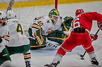 29 December 2018: University of Vermont Catamount Goaltender Stefanos Lekkas, a Junior from Elburn, IL, makes a third period save against Rensselaer Engineer Forward Jacob Hayhurst, a Junior from Missassauga, ON, at Gutterson Fieldhouse in Burlington, Vermont. The Catamounts rallied from a 2-0 deficit to defeat RPI 4-2 and win the annual Catamount Cup Tournament. Mandatory Credit: Ed Wolfstein Photo *** RAW (NEF) Image File Available ***