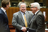 Austrian Foreign Minister Sebastian Kurz (L) , Greek Foreign Minister Nikos Kotzias (C) and German Foreign Minister Frank Walter-Steinmeier   prior to the European Union Foreign Ministers Council at EU headquarters  in Brussels, Belgium on 29.01.2015 Federica Mogherini , EU High representative for foreign policy called extraordinary meeting on the situation in Ukraine after the attack on Marioupol.  by Wiktor Dabkowski