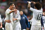 Real Madrid's Cristiano Ronaldo, Carlos Henrique Casemiro and Marcelo Vieira celebrate the victory in the Champions League 2015/2016 Quarter-finals 2nd leg match. April 12,2016. (ALTERPHOTOS/Acero)