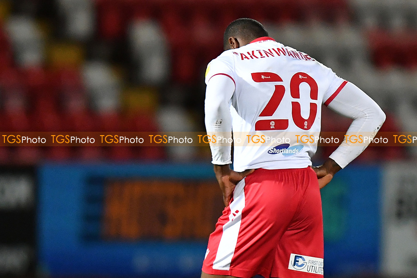 Dejected Femi Akinwande of Stevenage FC at the final whistle during Stevenage vs Bolton Wanderers, Sky Bet EFL League 2 Football at the Lamex Stadium on 21st November 2020