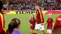 Calcio, Serie A: Roma vs Fiorentina. Roma, stadio Olimpico, 30 agosto 2014.<br /> Roma forward Francesco Totti enters the pitch with his children Chanel, left, and Cristian, for the Italian Serie A football match between AS Roma and Fiorentina at Rome's Olympic stadium, 30 August 2014.<br /> UPDATE IMAGES PRESS/Riccardo De Luca