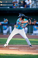 Idaho Falls Chukars Rhett Aplin (21) at bat during a Pioneer League game against the Missoula Osprey at Melaleuca Field on August 20, 2019 in Idaho Falls, Idaho. Idaho Falls defeated Missoula 6-3. (Zachary Lucy/Four Seam Images)
