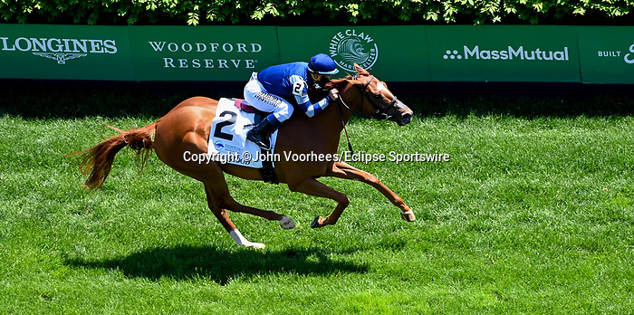 April 30, 2021 : Gift List, #2, ridden by Javier Castellano, wins the Edgewood Graded Stakes on Kentucky Oaks Day at Churchill Downs on April 30, 2021 in Louisville, Kentucky. John Voorhees/Eclipse Sportswire/CSM