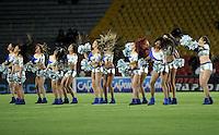 BOGOTA - COLOMBIA -20 -09-2014: Bastoneras de Millonarios animan a su equipo durante partido entre Millonarios y Atletico Junior por la fecha 10 de la Liga Postobon II-2014, jugado en el estadio Nemesio Camacho El Campin de la ciudad de Bogota. / Cheerleaders of Millonarios cheer for their team during a match between Millonarios and Atletico Junior for the 10 date of the Liga Postobon II-2014 at the Nemesio Camacho El Campin Stadium in Bogota city, Photo: VizzorImage / Luis Ramirez / Staff.