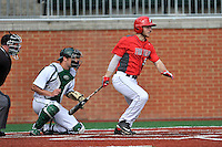 Left fielder Troy Scocca (5) of the Fairfield Stags bats in a game against the Charlotte 49ers on Saturday, March 12, 2016, at Hayes Stadium in Charlotte, North Carolina. The 49ers catcher is Nick Daddio and the home plate umpire is Brad Newton. (Tom Priddy/Four Seam Images)