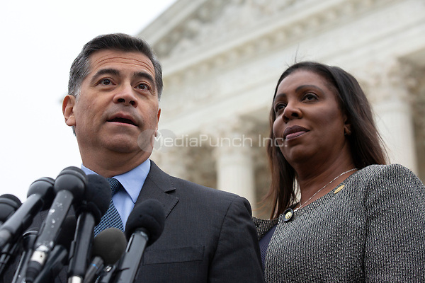 California Attorney General Xavier Becerra, joined by New York Attorney General Letitia James, speaks to the press after the Supreme Court heard arguments on the Deferred Action for Childhood Arrivals program in Washington D.C., U.S. on Tuesday, November 12, 2019.<br /> <br /> Credit: Stefani Reynolds / CNP /MediaPunch