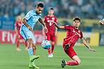 Jiangsu FC Forward Alex Teixeira (L) fights for the ball with Shanghai FC Defender Fu Huan (R) during the AFC Champions League 2017 Round of 16 match between Jiangsu FC (CHN) vs Shanghai SIPG FC (CHN) at the Nanjing Olympic Stadium on 31 May 2017 in Nanjing, China. Photo by Marcio Rodrigo Machado / Power Sport Images