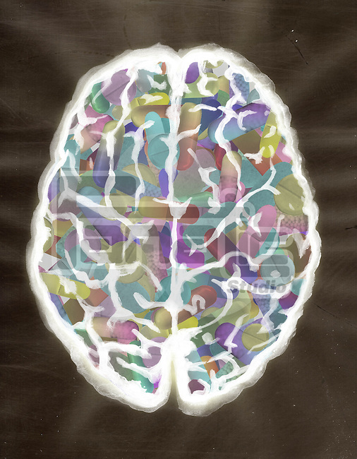 Illustrative image of human brain filled with capsules