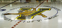 30 January 2010: The University of Vermont Catamount logo adorns center ice at Gutterson Fieldhouse in Burlington, Vermont. The Maine Black Bears and the Catamounts played to a 4-4 tie in the second game of their America East weekend series. Mandatory Credit: Ed Wolfstein Photo