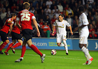 Pictured: Stephen Dobbie of Swansea with ball. Tuesday 28 August 2012<br /> Re: Capital One Cup game, Swansea City FC v Barnsley at the Liberty Stadium, south Wales.