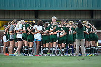 Baylor women soccer team gets in the huddle before NCAA soccer game, Friday, October 03, 2014 in Waco, Tex. TCU draw 1-1 against Baylor in double overtime. (Mo Khursheed/TFV Media via AP Images)