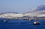 Ullapool Scotland. 1986. Loch Broom.  Bulgarian factory fishing boats. C