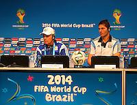 Argentina coach Alejandro Sabella and Jose Maria Basanta speak during the press conference