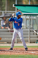 GCL Mets right fielder Edinson Valdez (3) at bat during a game against the GCL Cardinals on July 23, 2017 at Roger Dean Stadium Complex in Jupiter, Florida.  GCL Cardinals defeated the GCL Mets 5-3.  (Mike Janes/Four Seam Images)
