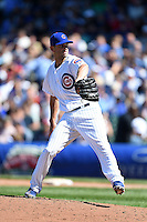 Chicago Cubs pitcher Jacob Turner (38) delivers a pitch during a game against the Milwaukee Brewers on August 14, 2014 at Wrigley Field in Chicago, Illinois.  Milwaukee defeated Chicago 6-2.  (Mike Janes/Four Seam Images)