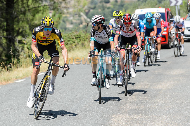 Steven Kruijswijk (NED) Jumbo-Visma attacks from the breakaway on the final climb of Stage 15 of La Vuelta d'Espana 2021, running 197.5km from Navalmoral de la Mata to El Barraco, Spain. 29th August 2021.    <br /> Picture: Cxcling | Cyclefile<br /> <br /> All photos usage must carry mandatory copyright credit (© Cyclefile | Cxcling)