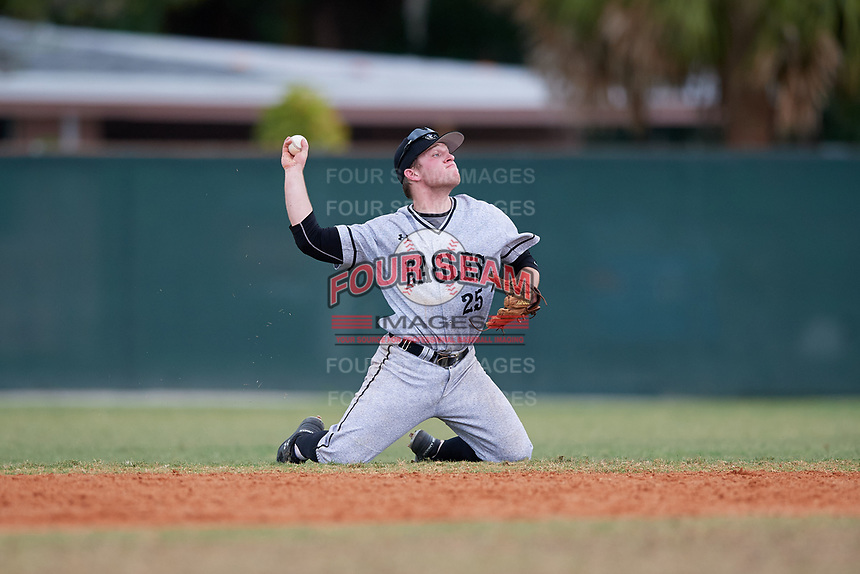 Edgewood Eagles second baseman Trey Hunt (25) during the second game of a double header against the Bethel Wildcats on March 15, 2019 at Terry Park in Fort Myers, Florida.  Bethel defeated Edgewood 3-2.  (Mike Janes/Four Seam Images)