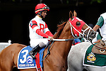 ARLINGTON HEIGHTS, IL - AUGUST 13: Scissors and Tape #3, ridden by Shaun Bridgmohan, during the post parade before the Secretariat Stakes at Arlington International Racecourse on August 13, 2016 in Arlington Heights, Illinois. (Photo by Jon Durr/Eclipse Sportswire/Getty Images)
