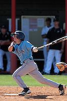 Tim Caputo #1 of the Rhode Island Rams bats against the Cal State Northridge Matadors at Matador Field on March 14, 2012 in Northridge,California. Rhode Island defeated Cal State Northridge 10-8.(Larry Goren/Four Seam Images)