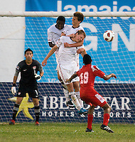 Andrew Souders (2) o the United States goes up for a header with teammates Alfred Karoma (7) and Marc Pelosi (11) during the group stage of the CONCACAF Men's Under 17 Championship at Jarrett Park in Montego Bay, Jamaica. The USA defeated Panama, 1-0.