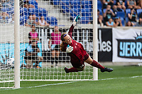 HARRISON, NJ - JULY 25: Cassie Miller #38 of the Chicago Red Stars dives unsuccessfully to stop a PK during a game between Chicago Red Stars and NJ/NY Gotham City FC at Red Bull Arena on July 25, 2021 in Harrison, New Jersey.
