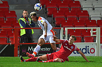 Blackpool's Jordan Lawrence-Gabriel battles with Accrington Stanley's Ben Barclay<br /> <br /> Photographer Dave Howarth/CameraSport<br /> <br /> EFL Trophy Northern Section Group G - Accrington Stanley v Blackpool - Tuesday 6th October 2020 - Crown Ground - Accrington<br />  <br /> World Copyright © 2020 CameraSport. All rights reserved. 43 Linden Ave. Countesthorpe. Leicester. England. LE8 5PG - Tel: +44 (0) 116 277 4147 - admin@camerasport.com - www.camerasport.com